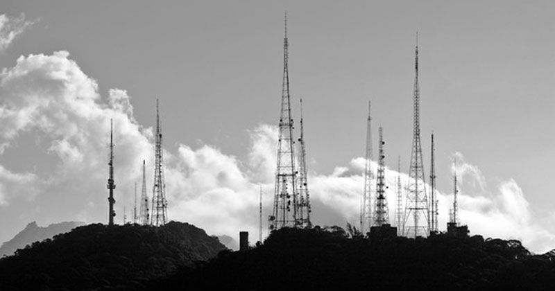 Radio Antennas On Top Of A Mountain