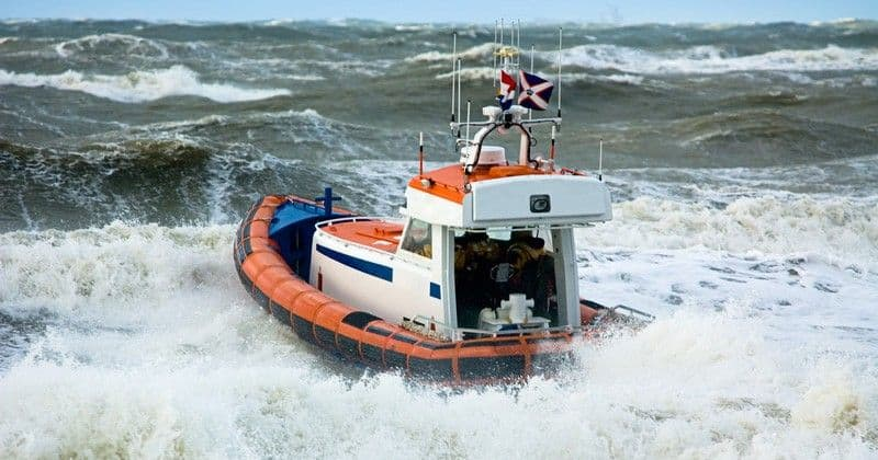 Coast Guard On Stormy Sea